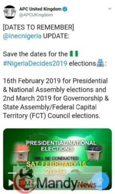 INEC Releases Dates For 2019 Elections In Nigeria (Photo, Video)