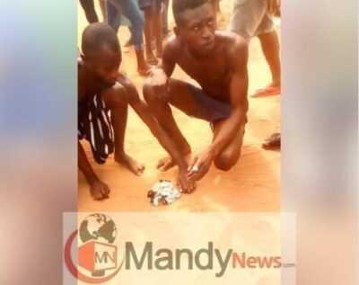 Young Men Caught After Stealing Panties In Benin, Forced To Burn Them (Photos)
