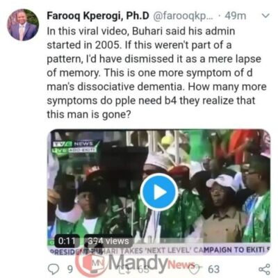 """Dementia, Buhari Is Gone"": Associate Prof. Reacts To PMB's ""2005 Blunder"" In Ekiti"