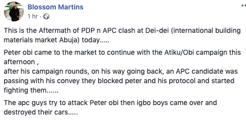 Peter Obi Escapes Death As APC And PDP Clash In Abuja Today (Photos)