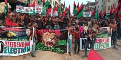 Photos From IPOB Election Boycott Campaign In Anambra Today