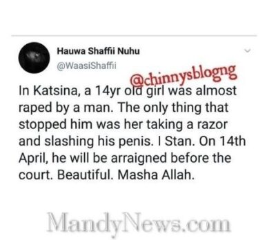 14-Year-Old Girl Slashes The Joystick Of Man Who Almost Rãped Her In Katsina