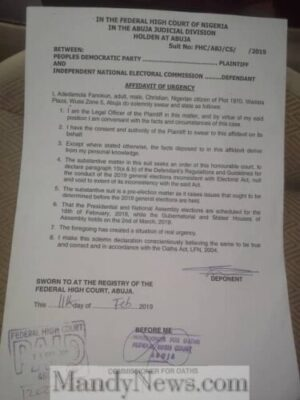 Why PDP Sued INEC (See Full Court Documents)