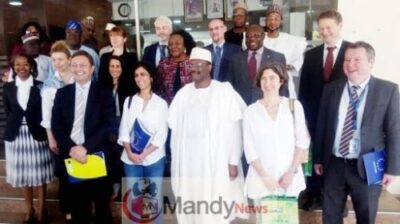 Pic. 16. INEC Chairman, Prof. Mahmood Yakubu (3rd, R); Chief Observer, EU Election Observation Mission Nigeria 2019, Maria Arena (3rd, L); INEC Commissioners and other members of the Mission, during their visit to INEC headquarters in Abuja on Monday (21/1/19).