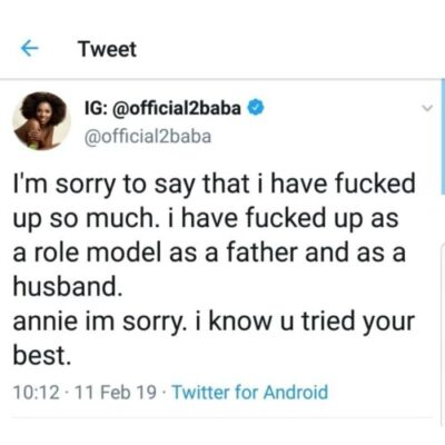 2face Apologizes To Wife, Annie Idibia For Disappointing Her (See Tweets)