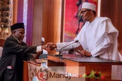 President Muhammadu Buhari on Friday sworn-in Acting Chief Justice of Nigeria, CJN, Justice Ibrahim Tanko Mohammed at the State House, Abuja