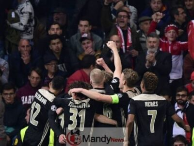 Ajax Defeat celebrating after Humiliating Real Madrid Out of Champions League