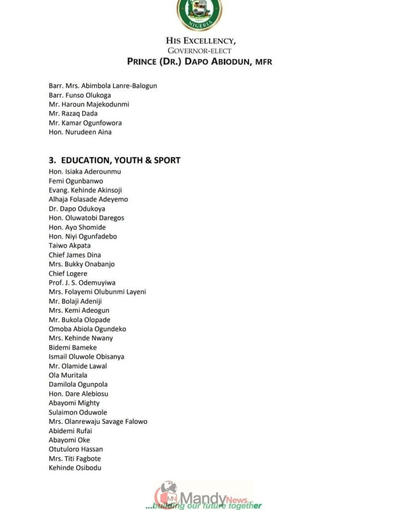 Prince Dapo Abiodun Economic Transition Committee: Members of Transition Work Groups. Signed: Prince Dapo Abiodun, MFR Governor-Elect, Ogun State.