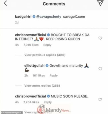 Chris Brown calls Rihanna a 'queen' in singer's Instagram comments