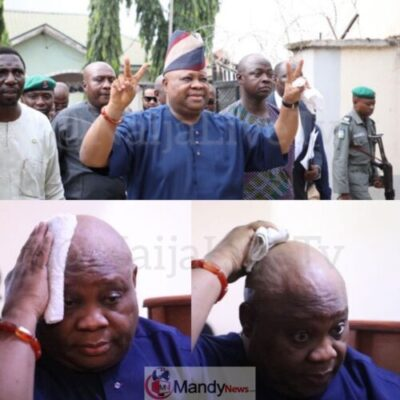 Senator Adeleke arriving Magistrate Court, Mpape, Abuja premises for Arraignment by Police