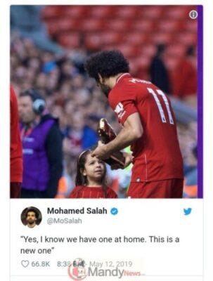 Liverpool Star Mohamed Salah Celebrates Golden Boot