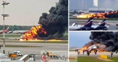 Russian Plane Catches Fire