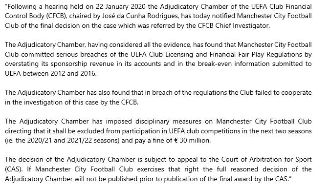 Club Financial Control Body Adjudicatory Chamber decision on Manchester City Football Club