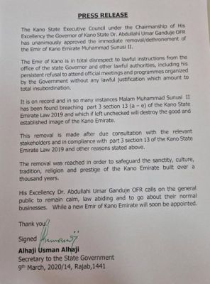 Press release confirms the dethronement of the Emir of Kano - Emir Sanusi Lamido Sanusi
