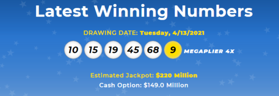 Latest megamillion winning numbers